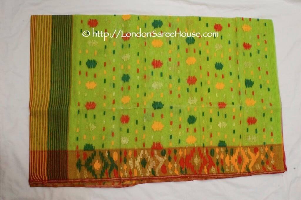 LondonSareeHouse_Lime_green_red_yellow_dhakai_jamdani